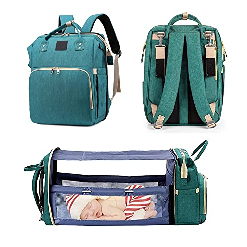Raheem Travel Diaper Bag Backpack Foldable Baby Bed,Portable 3 in 1 Nappy Baby Diaper Backpack,Large Capacity Waterproof Stroller for Moms Dads (Color : Green)