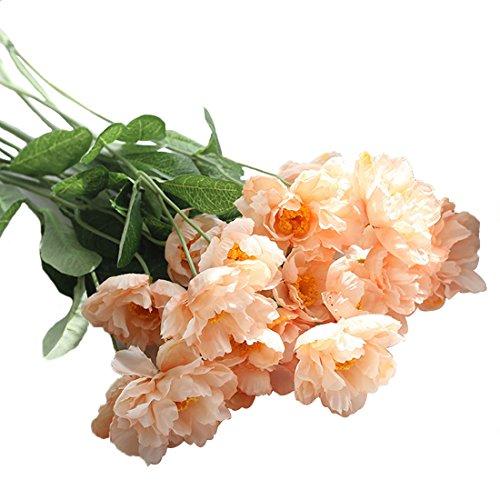 Calcifer Lot de 20 coquelicots artificiels en soie de 53 cm pour maison, jardin, décoration de fête de mariage, bouquets de demoiselle d'honneur (champagne)