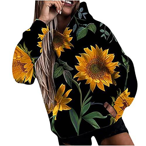 yiouyisheng Sudadera con capucha para mujer con girasol, plumas y graffiti de colores, para otoño e invierno, con capucha, para adolescentes y niñas, con bolsillos, amarillo, L