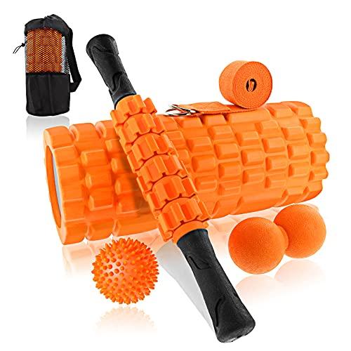 BNEHHOV Rodillo Muscular 6 en 1 Foam Roller Kit Rodillo de Espuma Rulo Masaje Bolas con Pinchos Cinturón Auxiliar para Relajación Profunda de Piernas y Partes Cuerpo Adoloridas