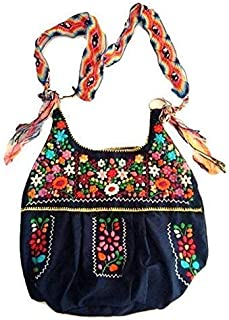 Authentic Mexican Artisan Bag with Strap, Frida Kahlo Ethnic Embroidered Woven Crossbody Boho Purse for Women