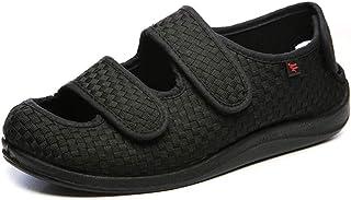 e4b2d243 Willsky Zapatos diabéticos para Hombres, Espuma viscoelástica Zapatillas  para ensanchar Velcro Ajustable Cómoda Red Artritis