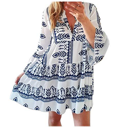 BIBOKAOKE Jurken dames zomer V-hals flare-mouwen boho maxi jurk T-shirt jurk bedrukte trendy casual losse strandjurken feestelijke jurken tuniek jurk