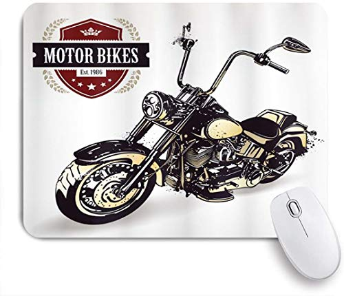 JOSENI Personalized Rectangular Mouse Pad,Chopper Customized Motorcycle with Club Insignia Bikes Hippie Classic Retro,Table Mat,Gaming Office Decor,9.5 x 7.9in