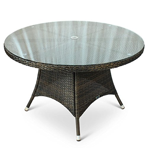 BrackenStyle Round Rattan Outdoor Table with Glass Top - 1.2 Metre Diameter 120cm Circular Rattan Table