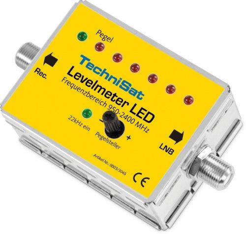TechniSat LEVELMETER LED - Sat-Finder (Pegeleinsteller zur optimalen Ausrichtung einer Sat-Anlage, 7-Elemente LED Anzeige, akustisches Signal, 2 F-Stecker - Kupplung-)