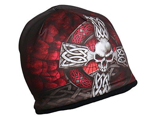HD Sublimation Celtic Iron Cross Maltese Skull Beanie Biker Stocking Cap