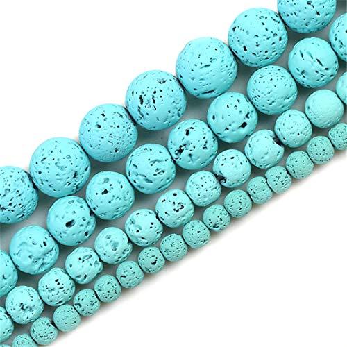 Cuentas Sueltas Redondas De Piedra VolcáNica De Lava Negra De Piedra Natural Que Se Adaptan A Cuentas De Dijes para Hacer Joyas 4/6/8/10/12 mm Light Blue 4mm About 91pcs