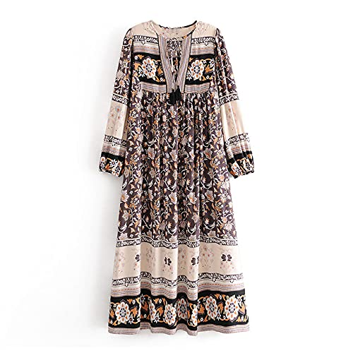 SHENSHI Women Dresses,Vintage Printed Bow Tie Hollow Out Long Sleeve O-Neck Boho Dress,Style 1,Small