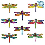 8 Dragonfly Window Clings for Glass Windows and Doors | Window Decals for Birds Strikes | Anti Collision Window Stickers Decor | Decorative Dragonflies Window Decals for Sliding Glass Doors