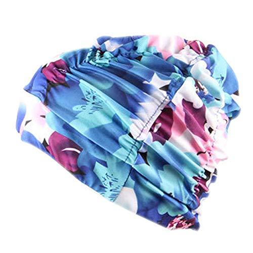 Schwimmhaube Badekappe für charmante Damen Schwimmen Hut Mädchen Lange Haare wasserdichte Badehaube Stretch drapieren Multicolor Blume gedruckt(D,Free)