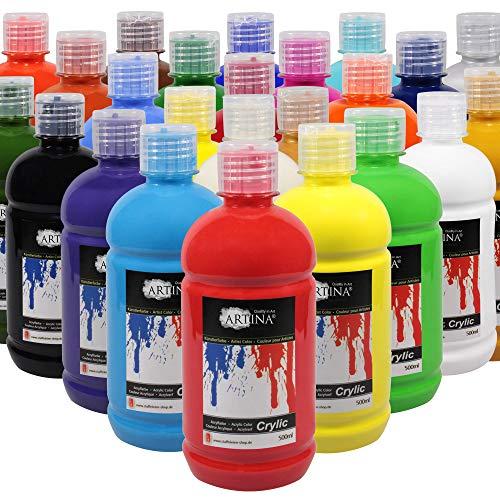 Artina Acrylfarben Set 24x500 ml Farbtuben Crylic Acryl Set – Hoch pigmentierte Künstlerfarben Acrylfarbe Malfarben für Leinwand, Holz, Papier, Stein UVM.