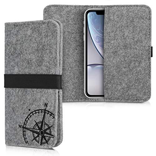 kwmobile Filz Tasche für Smartphones - mit Gummiband - Handy Filztasche Schutztasche Kompass Vintage Schwarz Hellgrau - 16,0 x 8,0 cm Innenmaße