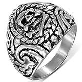 (A) 指輪 リング サージカル ステンレス 316L シルバー 銀色 スカルウィザードステンレスリング(RMT231)サイズ/31号 ドクロ 骨 ボーン ガイコツ 印台型 親指 大きいサイズ 薬指 小指 関節 アクセサリー