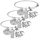 Pack Of 3 Teacher Bangles Gifts For Teacher Open School Gifts For Teachers Thank You Bangle Bracelets (3PCs Bangles Style 01- Thanks for making a difference in my life)