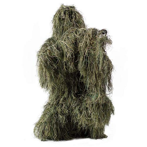 HaoFst Medium Size Ghillie Suit Camo Woodland Camouflage Forest Hunting 4-Piece + Bag M-L