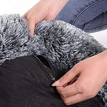 FEANDREA Panier pour Chien, Lit pour Chat, Tissu Peluche, 60 cm, Gris PGW038G01