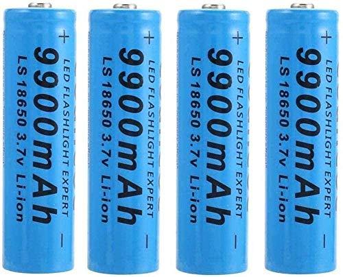 18650 baterías de Litio Recargables Inteligentes útil de la batería Baterías durables precargado 9900mAh 3 7V para LED Antorcha Antorcha Azul (Paquete de 4)