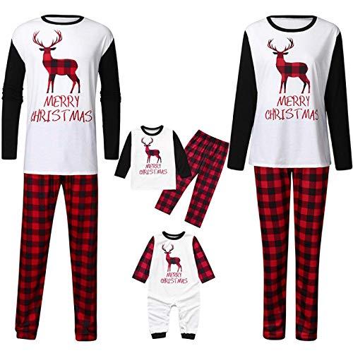 Pyjama Damen Nachthemd Schlafanzug Rentier Bedruckte Familienkleidung Weihnachtspyjama Strampler Eltern-Kind-Oberteile Hosen Familien Passende Outfits 3T Multi