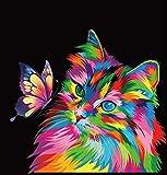 Jinlaili Gatto Colorato Dipingere con i Numeri Kit con pennelli e pigmento Acrilico, Dipingere con i Numeri per Adulti e Bambini Vernice di Numero Kit - Gatto ( 40 x 50cm, Senza Telaio )