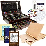 US Art Supply 163 Piece-Premium Mega Wood Box Art, Painting & Drawing Set That Contains All The Additional Supplies You Need to get Started and The Bonus Wooden Drawing Easel with Drawer.