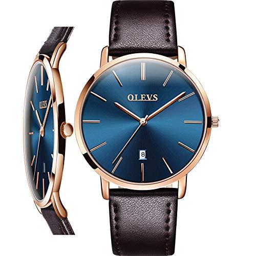 Mens Brown Watches,OLEVS Watch Men Luxury Dress Wrist Watch for Men Business Casual Minimalist Watch,Ultra Slim Watches Leather Classic Blue Dial Waterproof Quartz Watch for Men,relojes de Hombre