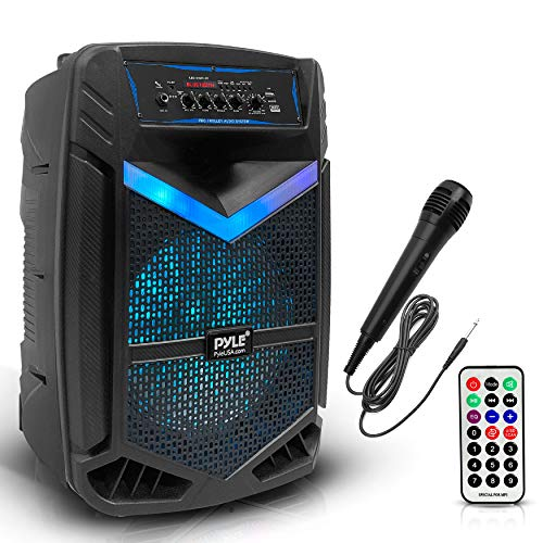 """Portable Bluetooth PA Speaker System - 800W Rechargeable Outdoor Bluetooth Speaker Portable PA System w/ 12"""" Subwoofer 1"""" Tweeter, Recording Function, Mic In Party Lights USB/SD Radio - Pyle PPHP1242B"""
