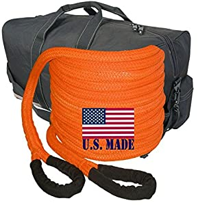 BILLET4X4 (Bigger Truck Recovery) U.S. Made 1-1/2 inch X 30 ft Safety Orange Kinetic Energy Recovery Rope - Snatch Rope with Heavy-Duty Carry Bag