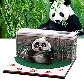3D Panda Notepad with Penholder Dispenser Funny Cute Note Pad Three-Dimensional Art Building Block Memo Pad Kawaii Sticky Notes for Child/Lover/Friends/Wife/Student