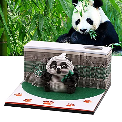 Panda Paper Sculpture Notepad Desk Rrganizer Decorate Office Space Memo Pad with Penholder, Funny Cute 3D Paper Panda Art Notepads Building Block Kawaii Sticky Notes for Child/Lover/Friends/Wife