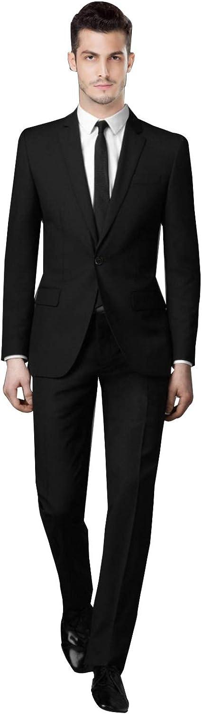 P&G Men's Two-Piece Classic Fit Office One Button Suit Jacket & Pants Set