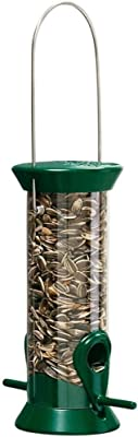 Droll Yankees New Generation Tube Feeder Sunflower and Mixed Seed Bird Feeder, 1/2 Lb. Bird Seed Capacity, 8-Inches
