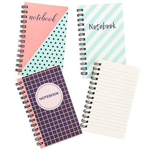 Pocket Notebook - 12-pack spiraalvormige gevoerde notitieblokken, gekrulde draadgebonden notitieboekjes voor reistijdschriften, school, kinderschrijfboeken, lerarengeschenken, 3 ontwerpen, zakformaat 3 x 5 inch, 50 vellen per stuk