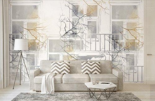 Carta Da Parati Muro 3D nordic ikea mano dipinta acquarello, city branch finestra tv sfondo muro Fotomurali Murale 3D Moderni