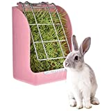 DishyKooker Pink Hay Feeder Hay Rack Rabbit Grass and Food Double Use Rabbit Feeder Hay Food Bin Feeder Non-Toxic BPA Free Ideal Hay Feeder for Guinea Pigs, Chinchillas and Hamsters