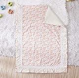 Brandream Girls Blush Pink Baby Ruffle Blanket Farmhouse Receiving Blanket Boho Floral Nursery Bedding Blanket Chic Sweet Blanket with Colorful Polka Dot, 100% Cotton