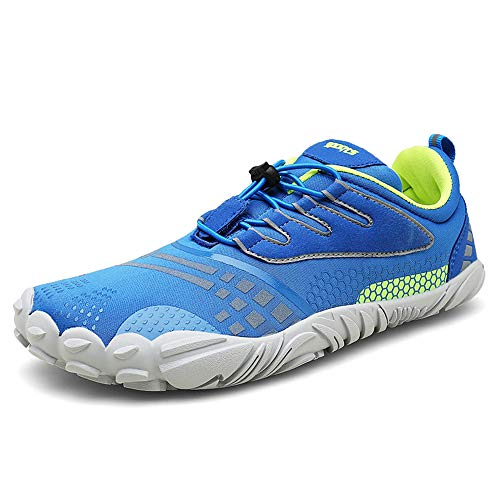 FOGOIN Barfußschuhe Herren Damen Outdoor Fitnessschuhe Laufschuhe Minimalistische Sneaker im Sommer Gr.37-47, Blau, 40 EU