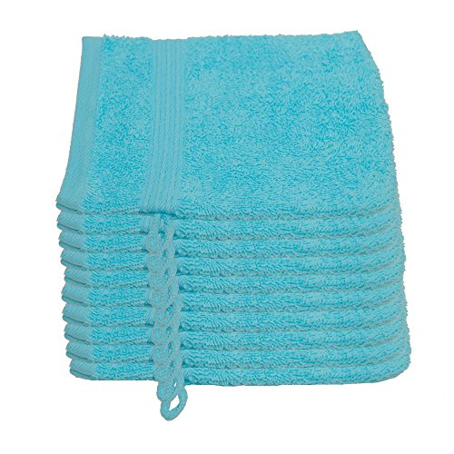 Julie julsen Lot de 10 gants de toilette 15 x 21 cm Disponible en 23 Couleurs doux et absorbant 500 gsm certifié Öko-Tex, Coton, Bleu ciel, 15 cm x 21 cm