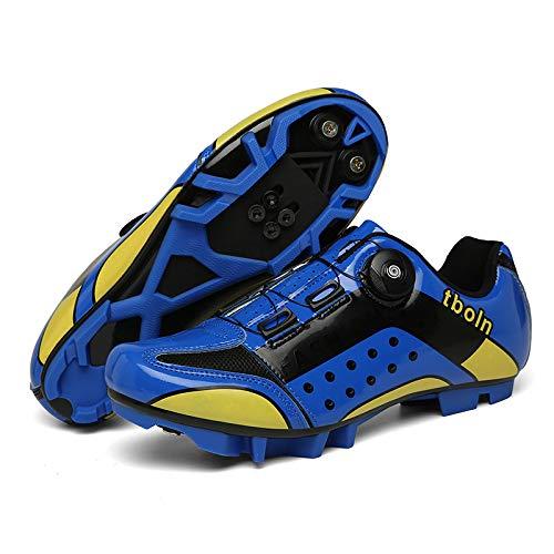 KUXUAN Calzado de Ciclismo para Hombre,Zapatillas de Ciclismo de Montaña MTB Road con Candados,Calzado Deportivo de Invierno para Hombre y Mujer/Suelas-Nailon,Blue-Mountainlock-13UK=(285mm)=47EU