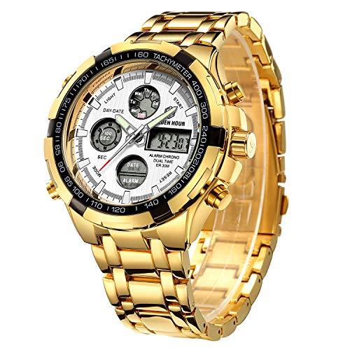 Golden Hour Reloj de Pulsera analógico Digital de Acero Inoxidable para Hombres y Hombres al Aire Libre, Resistente al Agua, Gran Reloj de Pulsera (Gold White)