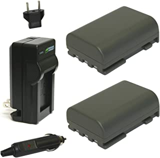 Wasabi Power Battery (2-Pack) and Charger for Canon NB-2L, NB-2LH, BP-2L5, BP-2LH and Canon DC301, DC310, DC320, DC330, DC410, DC420, Elura 40, 50, 60, 65, 70, 80, 85, 90, EOS 350D, 400D, Digital Rebel XT, XTi, FV500, FVM20, FVM30, FVM100, FVM200, HG10, HV20, HV30, Optura 30, 40, 50, 60, 400, 500, PowerShot G7, G9, S30, S40, S45, S50, S60, S70, S80, VIXIA HF R10, HF R100, HF R11, HG10, HV20, HV30,