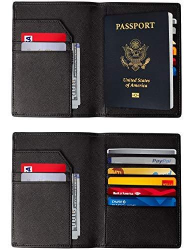 RFID Blocking Passport Holder – Premium Genuine Leather RFID Passport Holder / 8 Card Slots & 1 Passport Compartment/Slim RFID Passport Wallet Cover Case For Men & Women (Black)