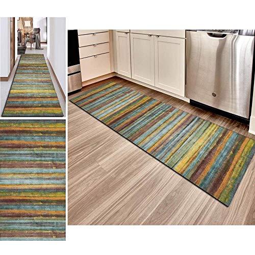 Hciszl Läufer Teppich Flur Küche 80x250cm Braun Bunt Nach Maß rutschfest Waschbar Schlafzimmer Abstrakte Patchwork Marokkanischer Teppich