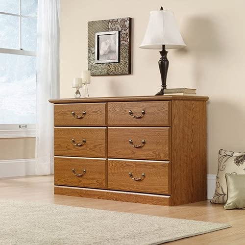 Dressers & Chests of Drawers-Bedroom Dresser Drawers, 6 Drawers, Carolina Oak Finish-Practical Storage Organizer for Your Belongings