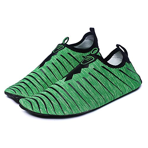 KCCCC Zapatos de Agua Acuáticos Playa Piscina de Secado rápido Antideslizante de Las Mujeres de los Zapatos Corrientes para Mujeres Hombres (Color : Green, Tamaño : 38-39)