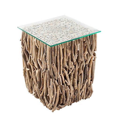 *Invicta Interior Massiver Treibholz Couchtisch FOSSIL 40cm Handarbeit Wohnzimmertisch mit Glasplatte Tisch Beistelltisch*
