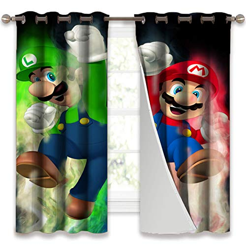SSKJTC Long Curtains Super Mario Bros Cheering Pose Room Darkening Curtains for Bedroom W55 x L39