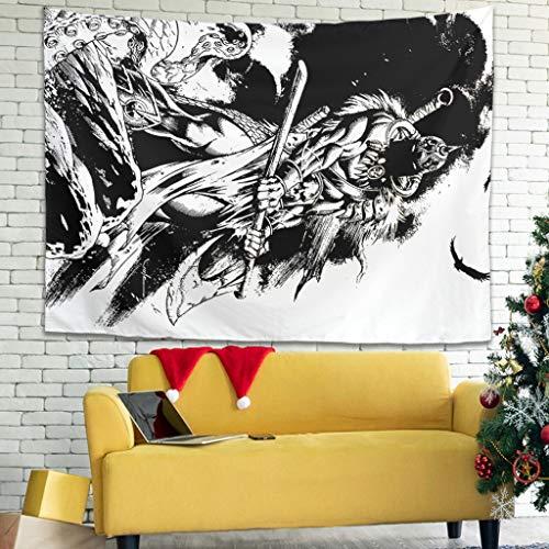 Magiböes Tapiz de pared vikingo, guerrero, hacha lucha, colcha multicolor, blanco, 230 x 150 cm