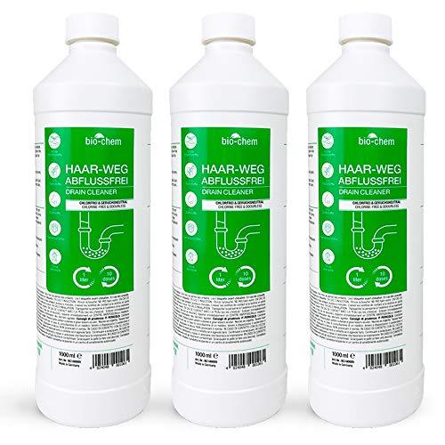 Bio-Chem Haar-Weg Abfluss-Frei Sparpack 3x1000 ml Abflussreiniger Rohrreiniger chlorfrei