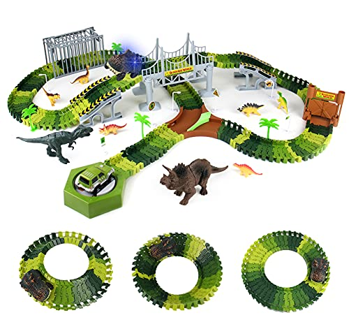Dinosaur Toys for Boys Age 3 4 5 Race Track Set Dino Slot Car Toys with 196Pcs Flexible Tracks 8 Dinosaurs 2 Cars Gifts for Girls 5 6 7 Years Old